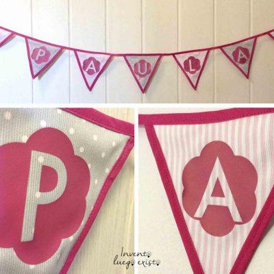 Guirnalda de tela con nombre personalizado rosa