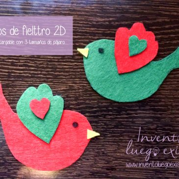 Pájaros de fieltro 2D (Plantilla 3 tamaños)