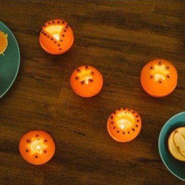 Velas con un toque a naranja