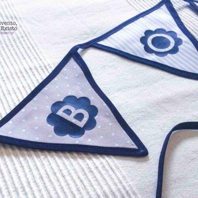 Guirnalda de tela con nombre personalizado azul